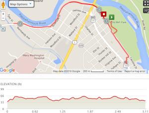 2016 Fredericksburg 5k Course Map