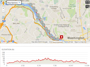 2016 Georgetown Half Course Map